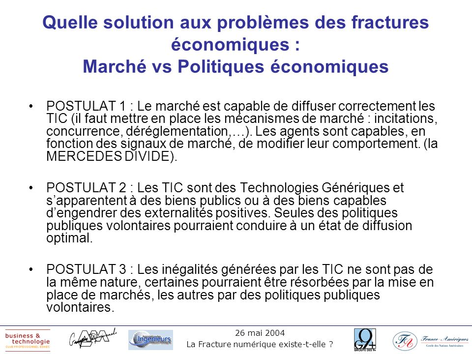26 mai 2004 La Fracture numérique existe-t-elle ? Quelle solution aux problèmes des fractures économiques : Marché vs Politiques économiques POSTULAT