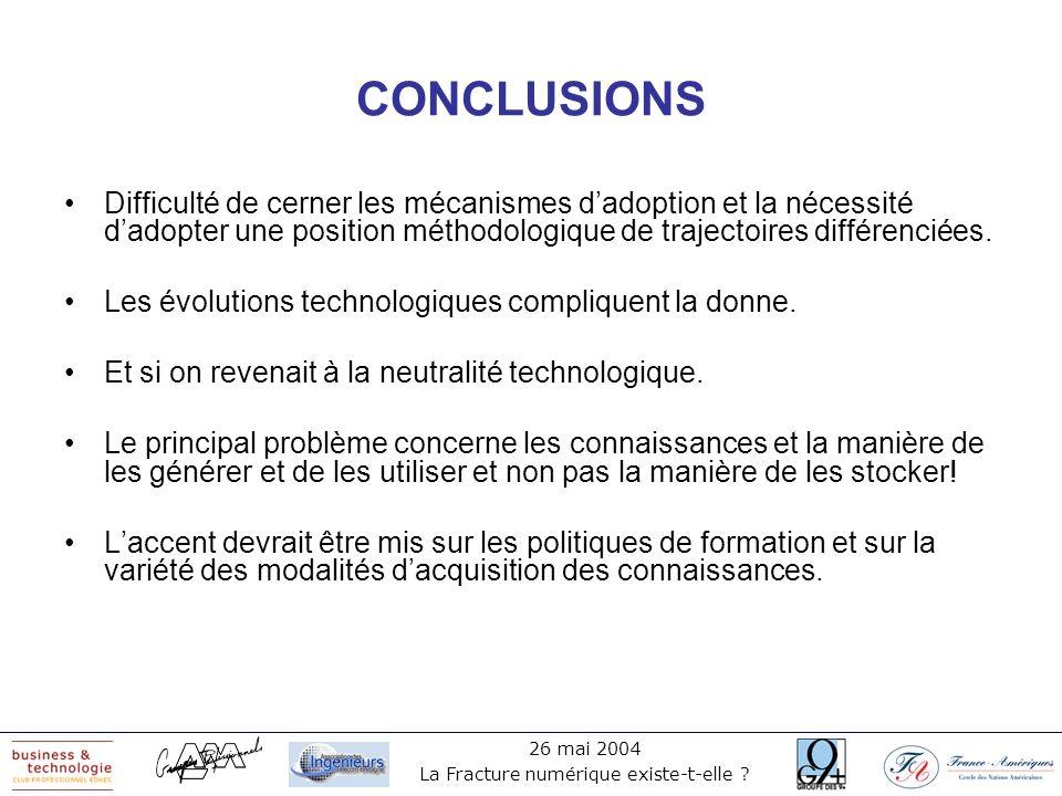 26 mai 2004 La Fracture numérique existe-t-elle ? CONCLUSIONS Difficulté de cerner les mécanismes dadoption et la nécessité dadopter une position méth