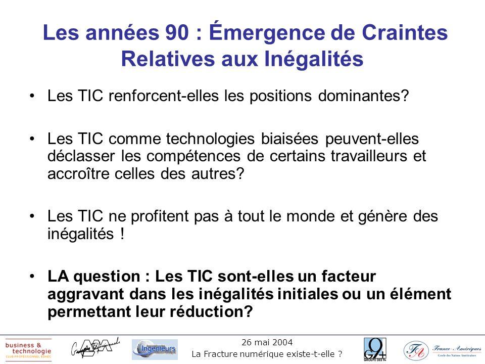 26 mai 2004 La Fracture numérique existe-t-elle ? Les années 90 : Émergence de Craintes Relatives aux Inégalités Les TIC renforcent-elles les position