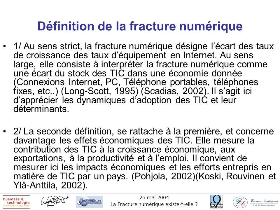 26 mai 2004 La Fracture numérique existe-t-elle ? Définition de la fracture numérique 1/ Au sens strict, la fracture numérique désigne lécart des taux