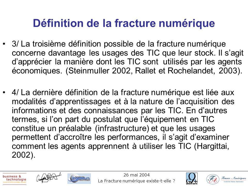 26 mai 2004 La Fracture numérique existe-t-elle ? Définition de la fracture numérique 3/ La troisième définition possible de la fracture numérique con