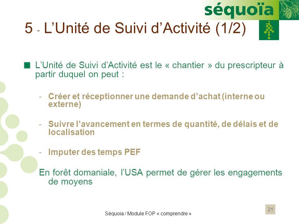 21 5 - LUnité de Suivi dActivité (1/2) LUnité de Suivi dActivité est le « chantier » du prescripteur à partir duquel on peut : -Créer et réceptionner