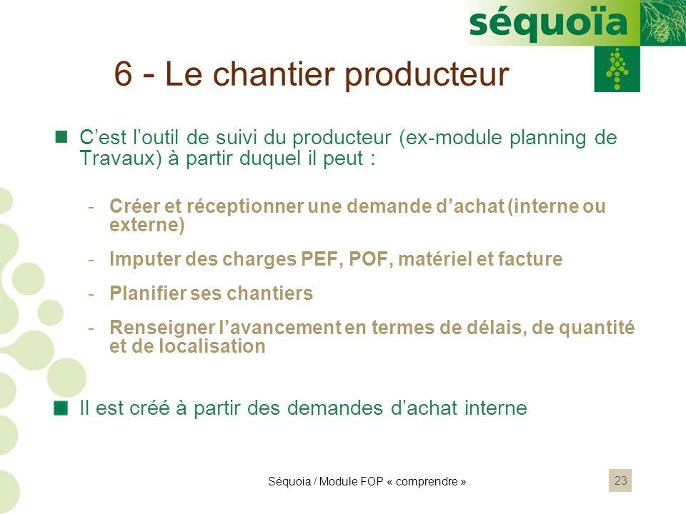 23 6 - Le chantier producteur Cest loutil de suivi du producteur (ex-module planning de Travaux) à partir duquel il peut : -Créer et réceptionner une