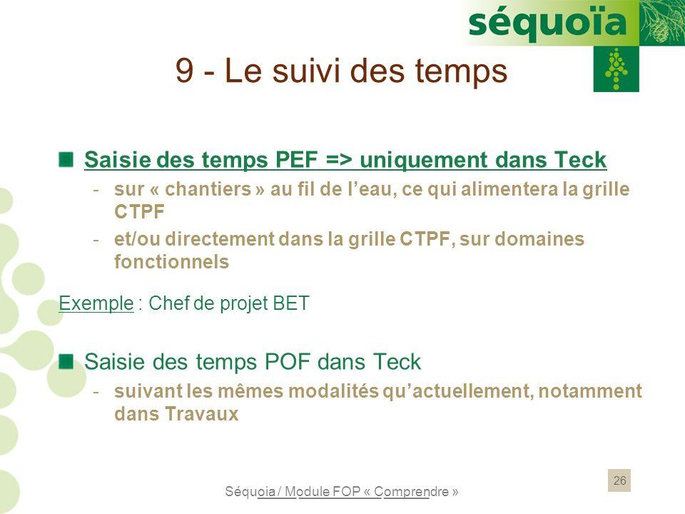 26 9 - Le suivi des temps Saisie des temps PEF => uniquement dans Teck -sur « chantiers » au fil de leau, ce qui alimentera la grille CTPF -et/ou dire