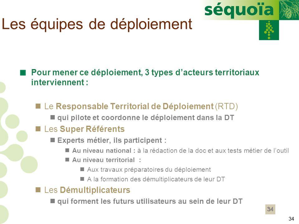 34 Pour mener ce déploiement, 3 types dacteurs territoriaux interviennent : Le Responsable Territorial de Déploiement (RTD) qui pilote et coordonne le