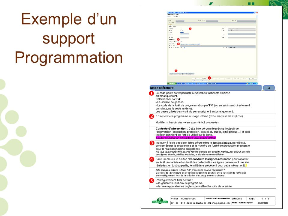 44 Exemple dun support Programmation