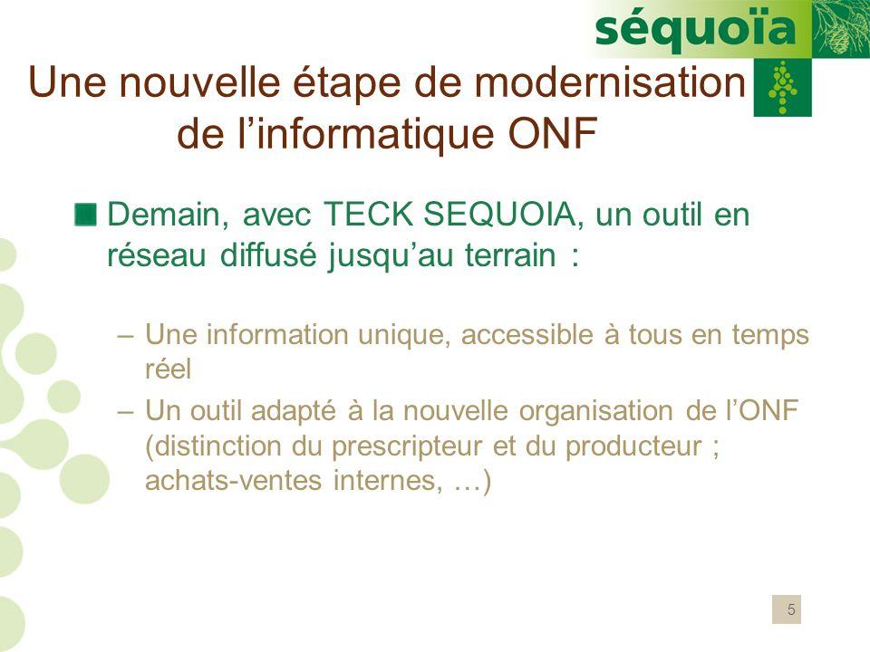 5 Demain, avec TECK SEQUOIA, un outil en réseau diffusé jusquau terrain : –Une information unique, accessible à tous en temps réel –Un outil adapté à