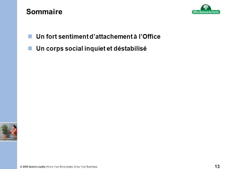 Know Your Employees. Grow Your Business.© 2005 Ipsos Loyalty | 13 Sommaire Un fort sentiment dattachement à lOffice Un corps social inquiet et déstabi