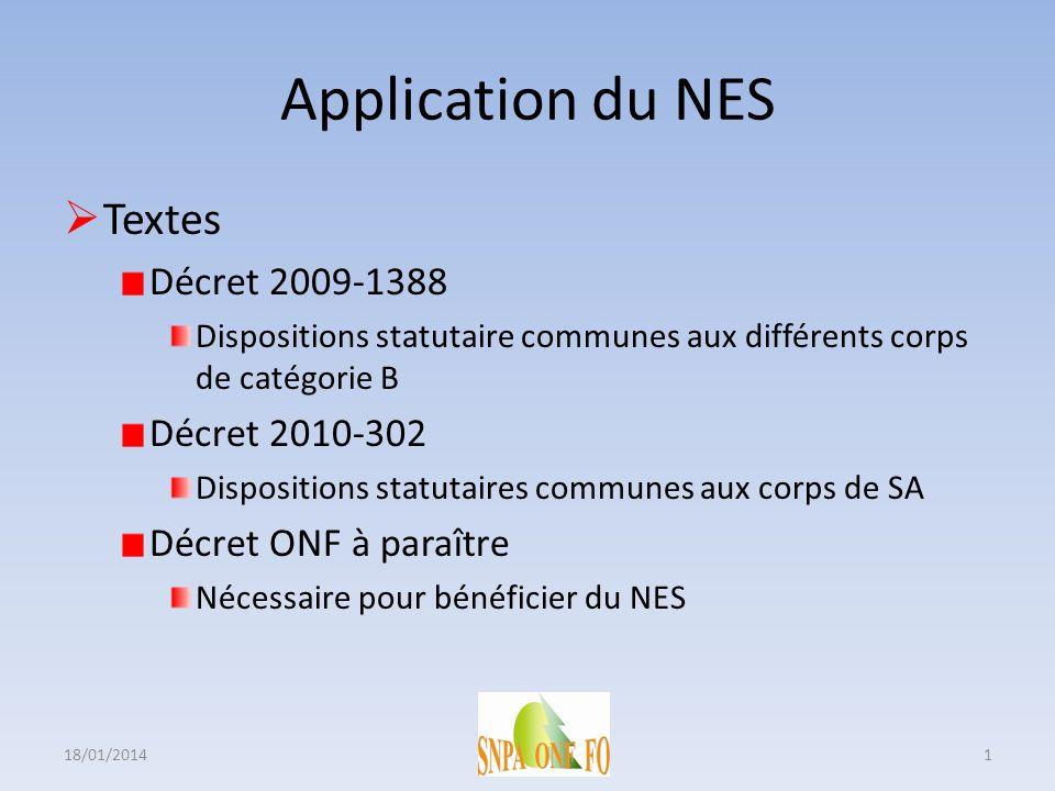 Application du NES Textes Décret 2009-1388 Dispositions statutaire communes aux différents corps de catégorie B Décret 2010-302 Dispositions statutair