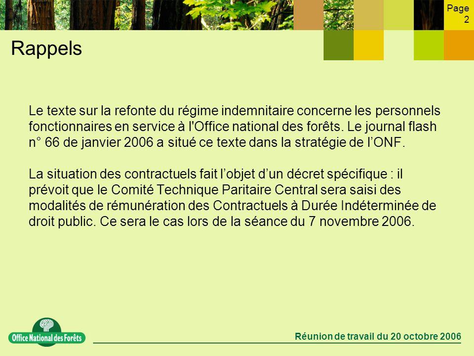 Page 2 Réunion de travail du 20 octobre 2006 Rappels Le texte sur la refonte du régime indemnitaire concerne les personnels fonctionnaires en service