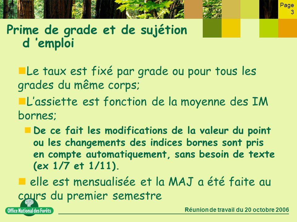Page 3 Réunion de travail du 20 octobre 2006 Prime de grade et de sujétion d emploi Le taux est fixé par grade ou pour tous les grades du même corps;