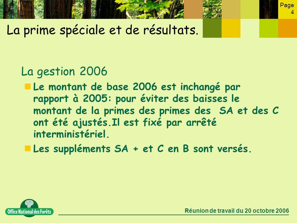 Page 4 Réunion de travail du 20 octobre 2006 La prime spéciale et de résultats. La gestion 2006 Le montant de base 2006 est inchangé par rapport à 200