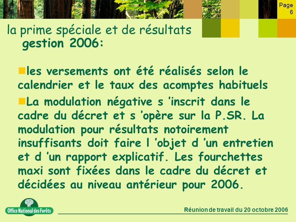 Page 6 Réunion de travail du 20 octobre 2006 la prime spéciale et de résultats gestion 2006: les versements ont été réalisés selon le calendrier et le