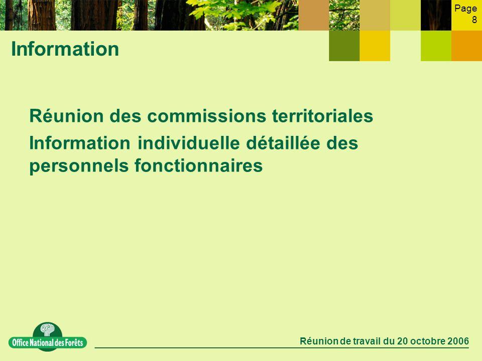 Page 8 Réunion de travail du 20 octobre 2006 Information Réunion des commissions territoriales Information individuelle détaillée des personnels fonct