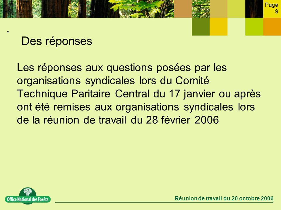 Page 9 Réunion de travail du 20 octobre 2006. Des réponses Les réponses aux questions posées par les organisations syndicales lors du Comité Technique
