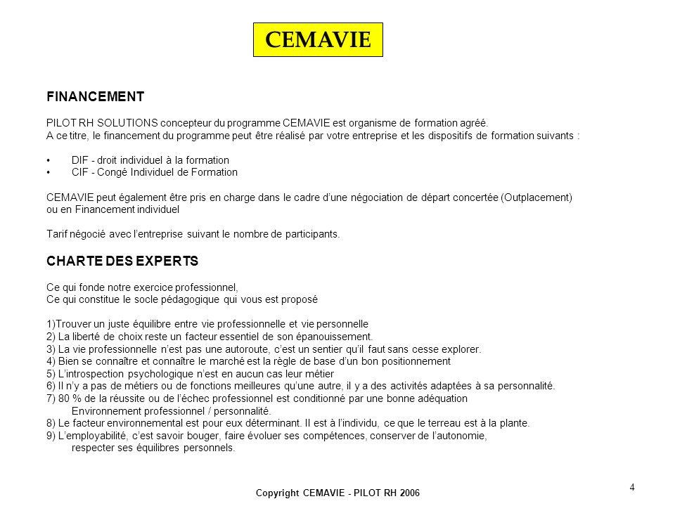 Copyright CEMAVIE - PILOT RH 2006 4 FINANCEMENT PILOT RH SOLUTIONS concepteur du programme CEMAVIE est organisme de formation agréé.