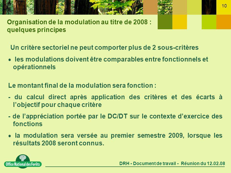 DRH - Document de travail - Réunion du 12.02.08 10 Un critère sectoriel ne peut comporter plus de 2 sous-critères les modulations doivent être comparables entre fonctionnels et opérationnels Le montant final de la modulation sera fonction : - du calcul direct après application des critères et des écarts à lobjectif pour chaque critère - de lappréciation portée par le DC/DT sur le contexte dexercice des fonctions la modulation sera versée au premier semestre 2009, lorsque les résultats 2008 seront connus.