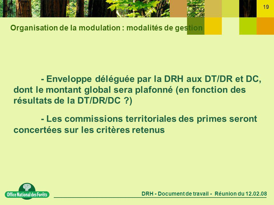 DRH - Document de travail - Réunion du 12.02.08 19 - Enveloppe déléguée par la DRH aux DT/DR et DC, dont le montant global sera plafonné (en fonction des résultats de la DT/DR/DC ) - Les commissions territoriales des primes seront concertées sur les critères retenus Organisation de la modulation : modalités de gestion