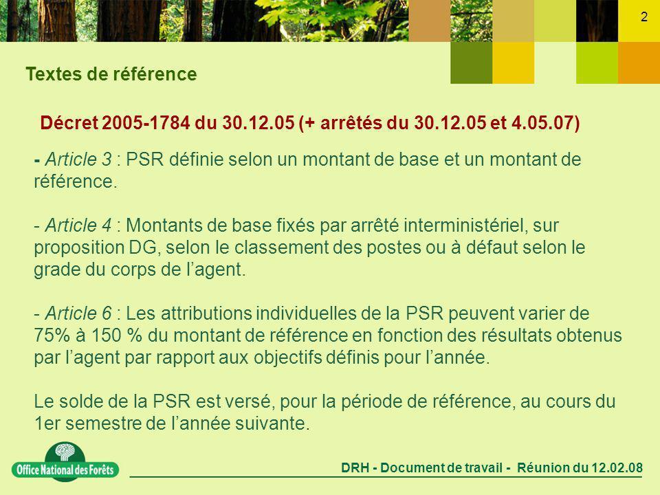 DRH - Document de travail - Réunion du 12.02.08 2 Décret 2005-1784 du 30.12.05 (+ arrêtés du 30.12.05 et 4.05.07) - Article 3 : PSR définie selon un montant de base et un montant de référence.