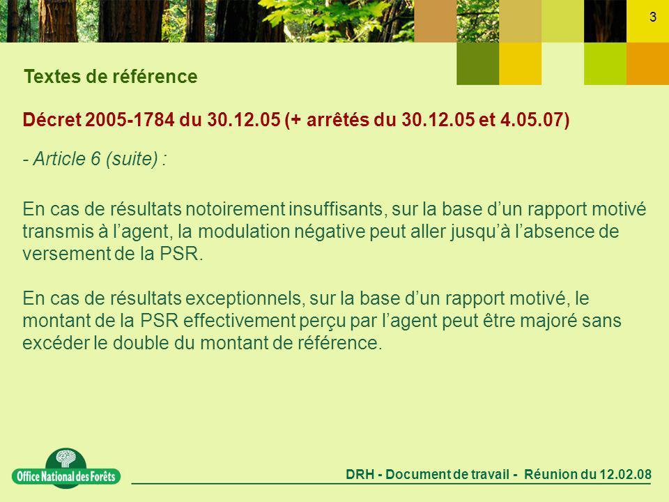 DRH - Document de travail - Réunion du 12.02.08 3 Décret 2005-1784 du 30.12.05 (+ arrêtés du 30.12.05 et 4.05.07) - Article 6 (suite) : En cas de résultats notoirement insuffisants, sur la base dun rapport motivé transmis à lagent, la modulation négative peut aller jusquà labsence de versement de la PSR.