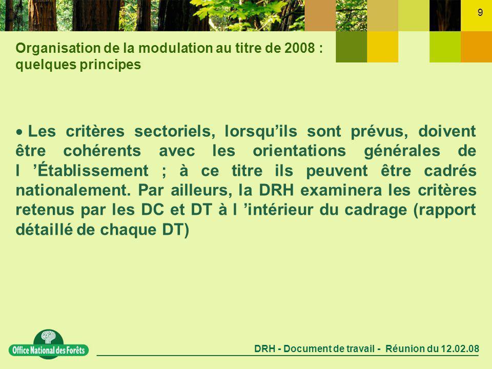 DRH - Document de travail - Réunion du 12.02.08 9 Les critères sectoriels, lorsquils sont prévus, doivent être cohérents avec les orientations générales de l Établissement ; à ce titre ils peuvent être cadrés nationalement.
