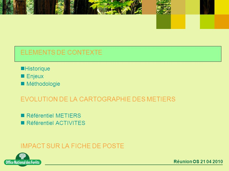 Réunion OS 21 04 2010 ELEMENTS DE CONTEXTE Historique Enjeux Méthodologie EVOLUTION DE LA CARTOGRAPHIE DES METIERS Référentiel METIERS Référentiel ACT