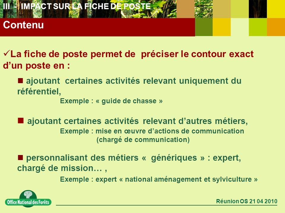 Réunion OS 21 04 2010 Contenu III - IMPACT SUR LA FICHE DE POSTE La fiche de poste permet de préciser le contour exact dun poste en : ajoutant certain