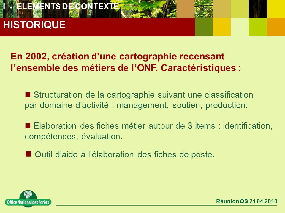 Réunion OS 21 04 2010 En 2002, création dune cartographie recensant lensemble des métiers de lONF. Caractéristiques : Structuration de la cartographie