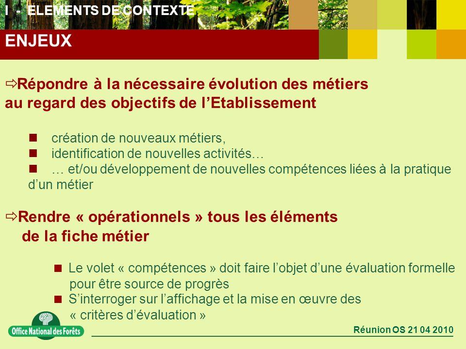 Réunion OS 21 04 2010 Répondre à la nécessaire évolution des métiers au regard des objectifs de lEtablissement création de nouveaux métiers, identific