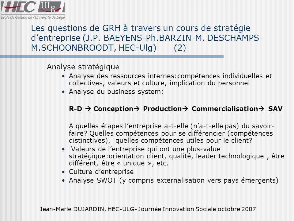 Jean-Marie DUJARDIN, HEC-ULG- Journée Innovation Sociale octobre 2007 Les questions de GRH à travers un cours de stratégie dentreprise (J.P.