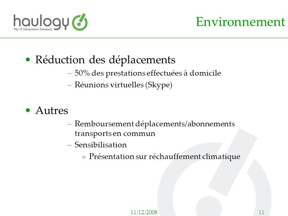 11/12/200811 Environnement Réduction des déplacements –50% des prestations effectuées à domicile –Réunions virtuelles (Skype) Autres –Remboursement dé