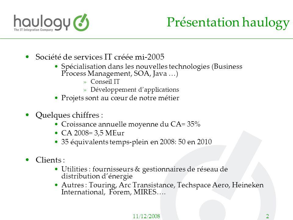 11/12/20082 Présentation haulogy Société de services IT créée mi-2005 Spécialisation dans les nouvelles technologies (Business Process Management, SOA