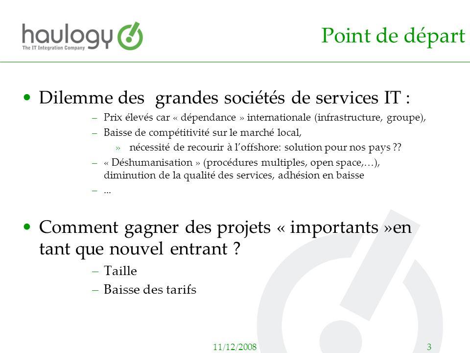 11/12/20083 Point de départ Dilemme des grandes sociétés de services IT : –Prix élevés car « dépendance » internationale (infrastructure, groupe), –Ba