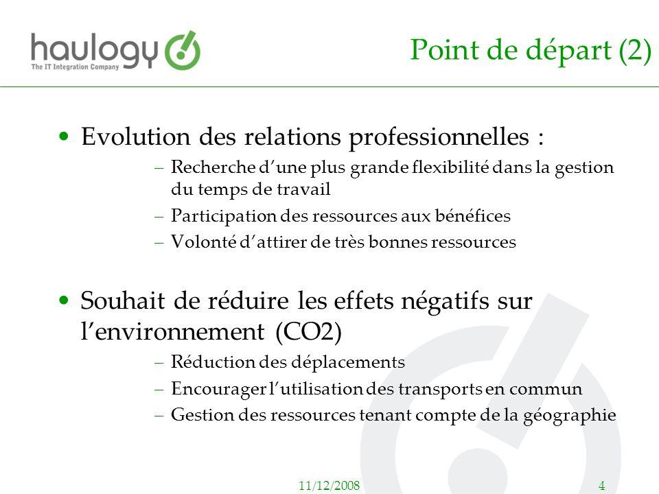 11/12/20084 Point de départ (2) Evolution des relations professionnelles : –Recherche dune plus grande flexibilité dans la gestion du temps de travail
