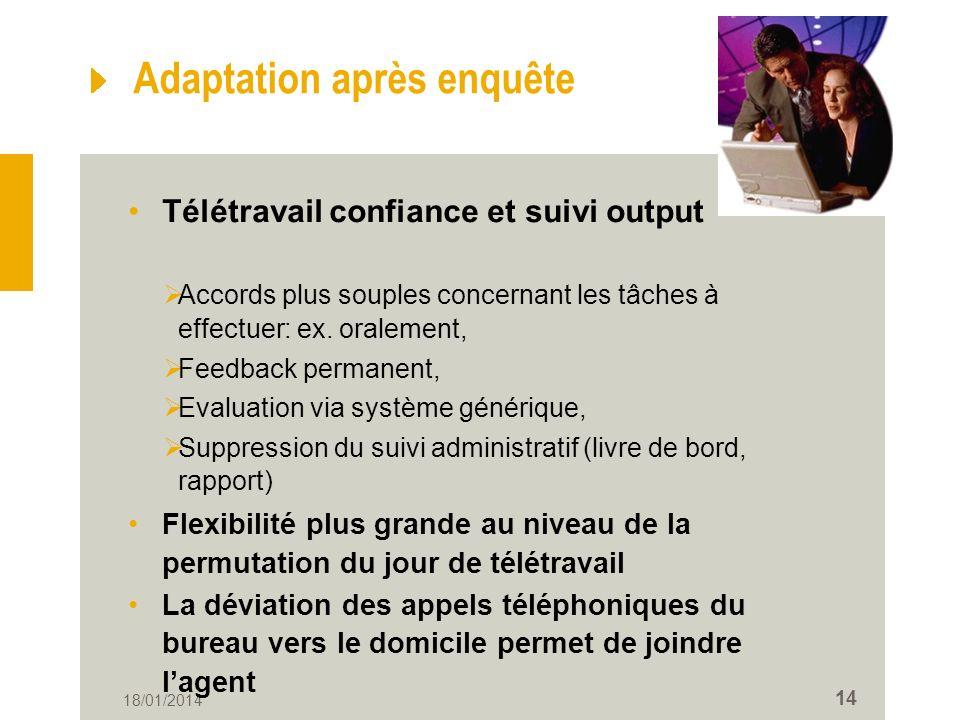 18/01/2014 14 Adaptation après enquête Télétravail confiance et suivi output Accords plus souples concernant les tâches à effectuer: ex.
