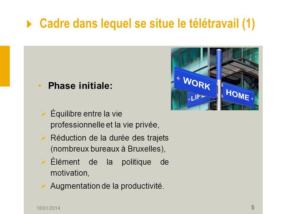 18/01/2014 5 Cadre dans lequel se situe le télétravail (1) Phase initiale: Équilibre entre la vie professionnelle et la vie privée, Réduction de la durée des trajets (nombreux bureaux à Bruxelles), Élément de la politique de motivation, Augmentation de la productivité.