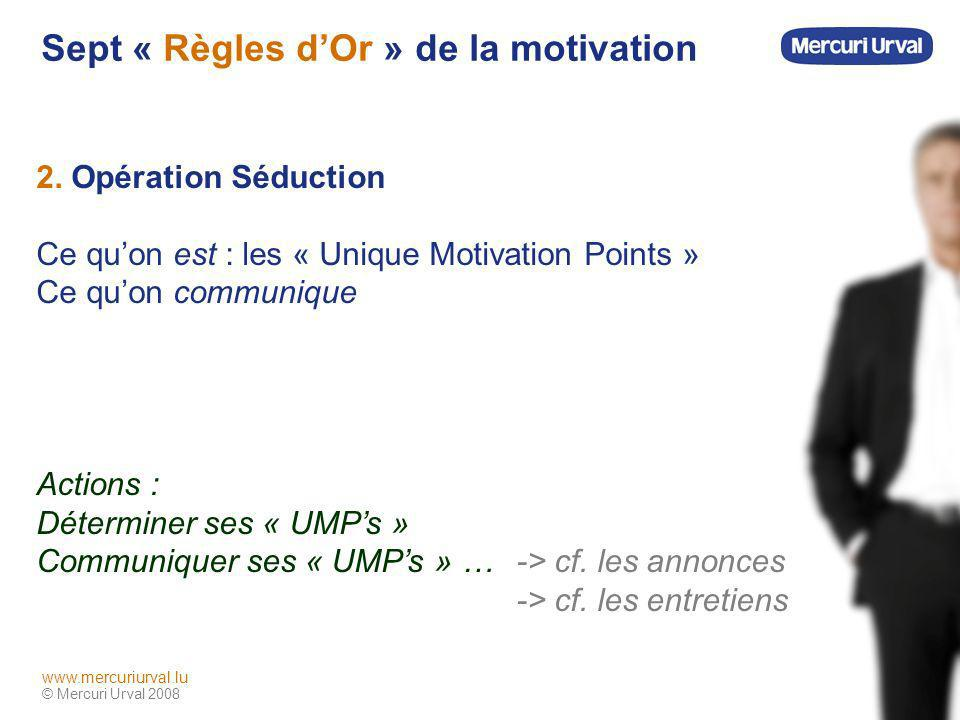 © Mercuri Urval 2008 www.mercuriurval.lu Sept « Règles dOr » de la motivation 3.
