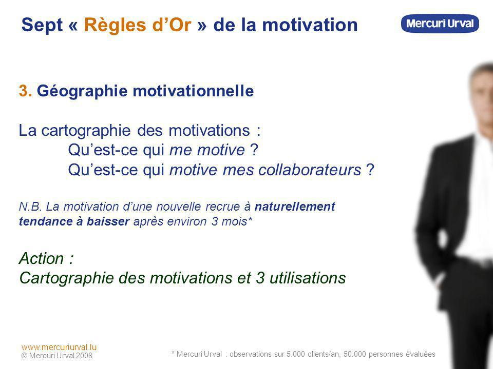 © Mercuri Urval 2008 www.mercuriurval.lu Sept « Règles dOr » de la motivation 3. Géographie motivationnelle La cartographie des motivations : Quest-ce