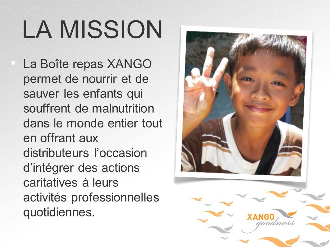 La Boîte repas XANGO permet de nourrir et de sauver les enfants qui souffrent de malnutrition dans le monde entier tout en offrant aux distributeurs l