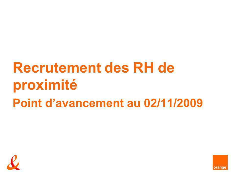 Recrutement des RH de proximité Point davancement au 02/11/2009