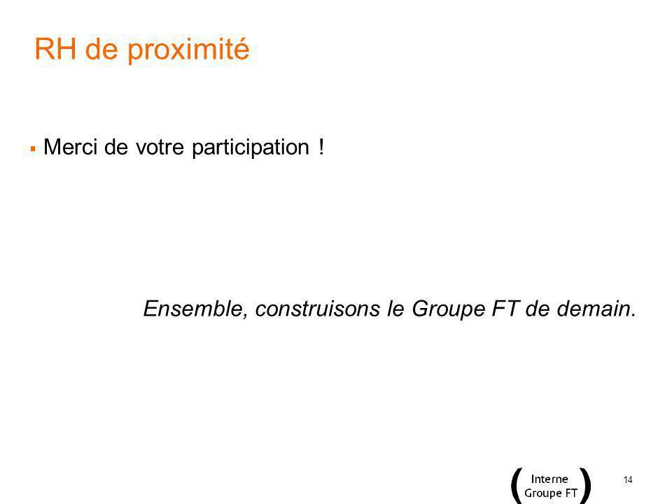 14 RH de proximité Merci de votre participation ! Ensemble, construisons le Groupe FT de demain.