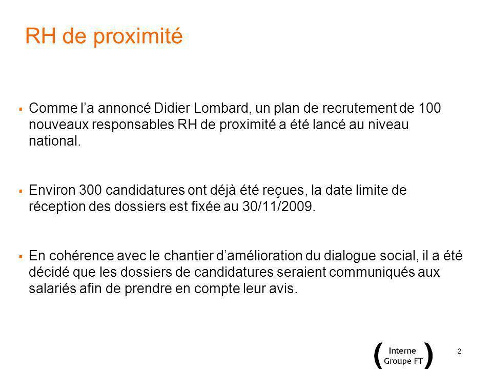 2 RH de proximité Comme la annoncé Didier Lombard, un plan de recrutement de 100 nouveaux responsables RH de proximité a été lancé au niveau national.