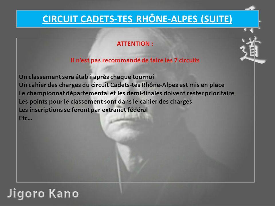 ATTENTION : Il nest pas recommandé de faire les 7 circuits Un classement sera établi après chaque tournoi Un cahier des charges du circuit Cadets-tes