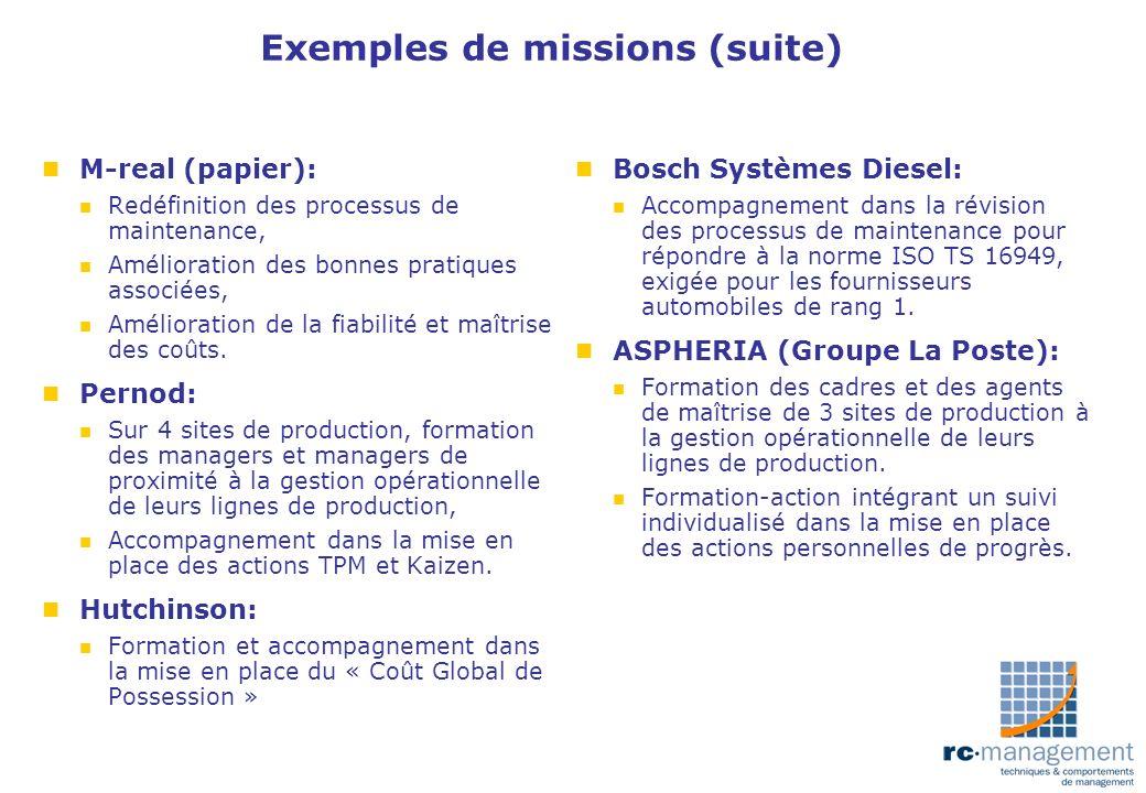 Exemples de missions (suite) n M-real (papier): n Redéfinition des processus de maintenance, n Amélioration des bonnes pratiques associées, n Améliora