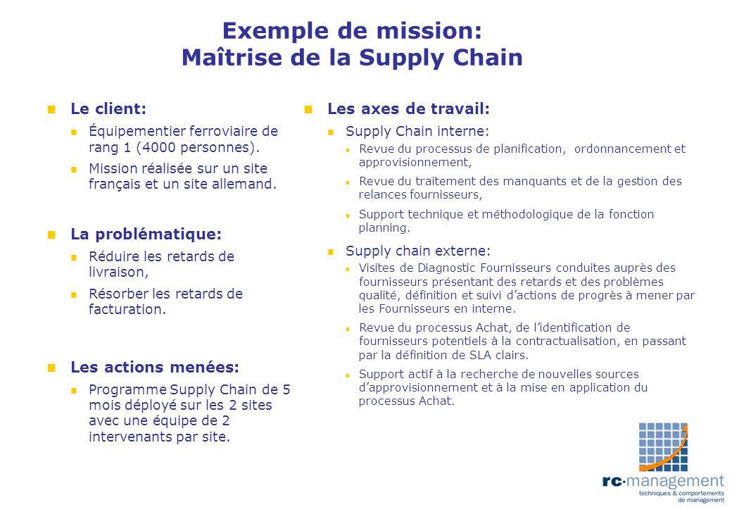 Exemple de mission: Maîtrise de la Supply Chain n Le client: n Équipementier ferroviaire de rang 1 (4000 personnes). n Mission réalisée sur un site fr