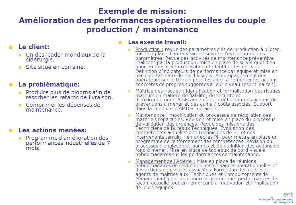 Exemples de missions (suite) n M-real (papier): n Redéfinition des processus de maintenance, n Amélioration des bonnes pratiques associées, n Amélioration de la fiabilité et maîtrise des coûts.