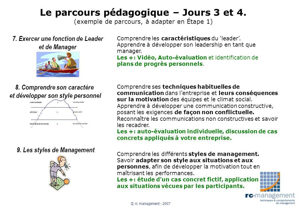 © rc management - 2007 Le parcours pédagogique – Jours 3 et 4. (exemple de parcours, à adapter en Étape 1) 7. Exercer une fonction de Leader et de Man