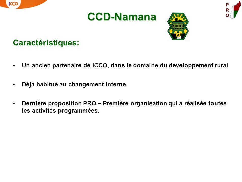 CCD-Namana Caractéristiques: Un ancien partenaire de ICCO, dans le domaine du développement rural Déjà habitué au changement interne. Dernière proposi