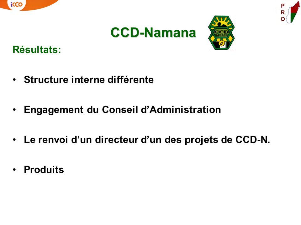 CCD-Namana Résultats: Structure interne différente Engagement du Conseil dAdministration Le renvoi dun directeur dun des projets de CCD-N. Produits