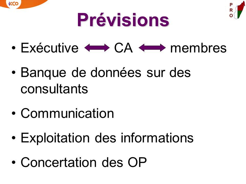 Prévisions Exécutive CA membres Banque de données sur des consultants Communication Exploitation des informations Concertation des OP